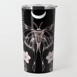 Bohemian Luna Moth On Black Travel Mug