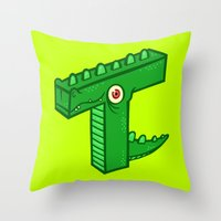 t rex Throw Pillows featuring T-Rex by Artistic Dyslexia