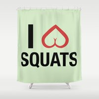 crossfit Shower Curtains featuring Squat Love by Free Specie