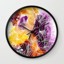 Purple Explosion Wall Clock
