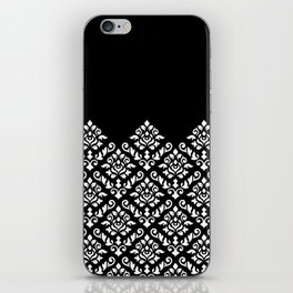 Damask Baroque Part Pattern White on Black iPhone Skin