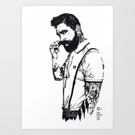 He loves ink Art Print