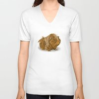 guinea pig V-neck T-shirts featuring grumpy old guinea pig  by Devon Busby Busbyart