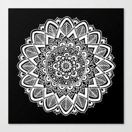 Black and White Boho Mandala Canvas Print