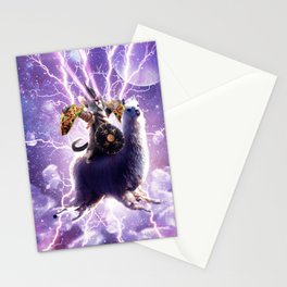 Lazer Warrior Space Cat Riding Llama With Taco Stationery Cards