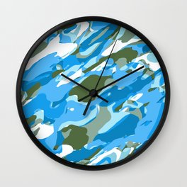 blue and green camouflage texture abstract background Wall Clock