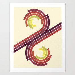 Retro Motion 1 – Orange / Yellow / Red / Purple Vintage Stripe Pattern Art Print
