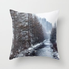 The Winter Path Forest (Color) Throw Pillow