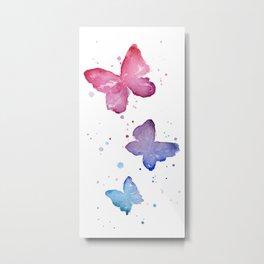 Butterflies Watercolor Abstract Splatters Metal Print