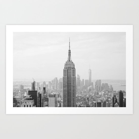 Black and White Empire State Building Manhattan New York Art Print