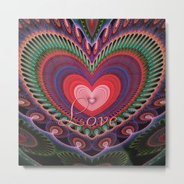 """Curly romantic heart with text """"Love Metal Print"""