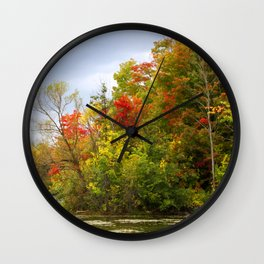 Leaning into Autumn Wall Clock