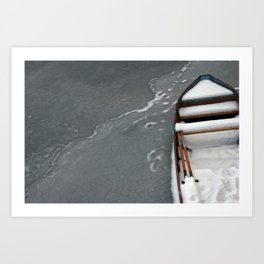 Old Boat On Ice Art Print