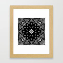 black and white bandana pattern Framed Art Print