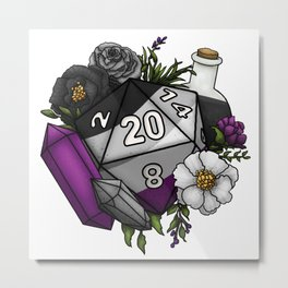 Pride Asexual D20 Tabletop RPG Gaming Dice Metal Print