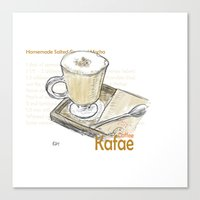 cafe Canvas Prints featuring Cafe by Indraart