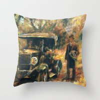 the godfather Throw Pillows featuring The Godfather. Part Two by Miquel Cazanya