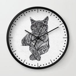 Zentangle Cat Wall Clock