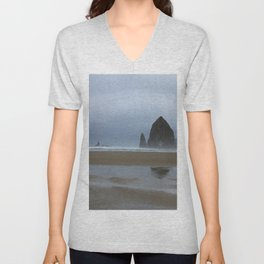 Misty Morning at Cannon Beach Unisex V-Neck
