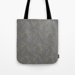 Autumn gray orange yellow green floral leaves Tote Bag