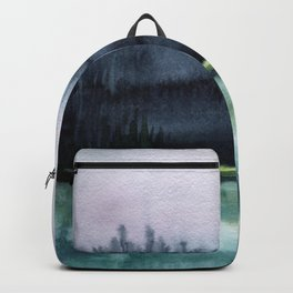 Watercolor blue sea on a background of thunderclouds Backpack