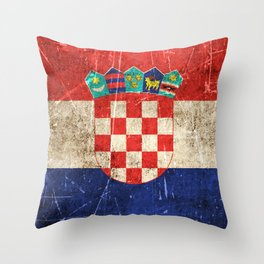 Vintage Aged and Scratched Croatian Flag Throw Pillow