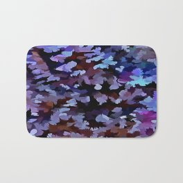Foliage Abstract In Blue and Lilac Tones Bath Mat