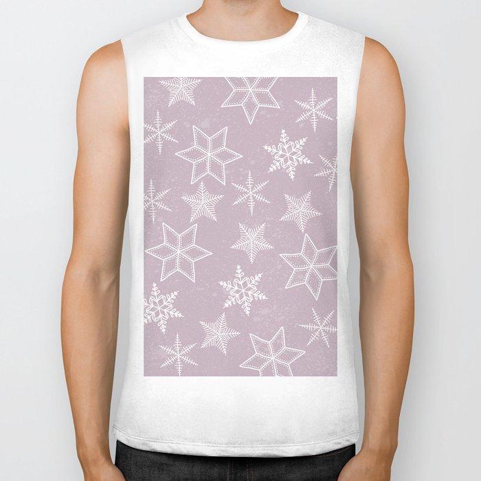 Snowflakes on pink background Biker Tank