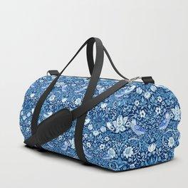 Art Nouveau Bird and Flower Tapestry, Indigo Blue Duffle Bag