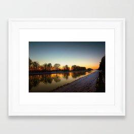 Winter sun early morning waterfront Framed Art Print