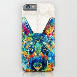 Colorful German Shepherd Dog Art By Sharon Cummings iPhone Case