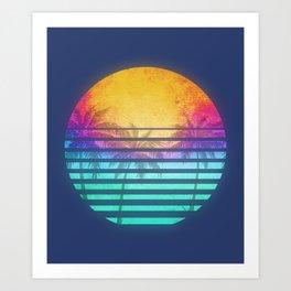 Vintage Retro 80's Synthwave Sunset Palms Art Print