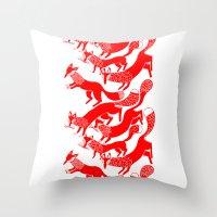 foxes Throw Pillows featuring FOXES by Riku Ounaslehto