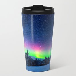 Aurora Borealis Over Wintry Mountains Travel Mug