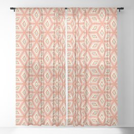 Living Coral Tilted Cubes Pattern Sheer Curtain
