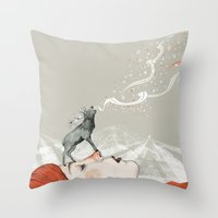 deer Throw Pillows featuring Deer Lady! by Sandra Dieckmann