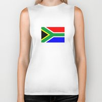 south africa Biker Tanks featuring south africa country flag by tony tudor