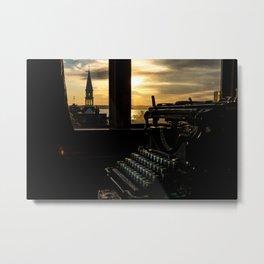 The Sunrise, Steeple & Typewriter Metal Print