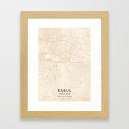 Kabul, Afghanistan - Vintage Map Framed Art Print