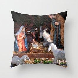 Christmas and Christianity. Nativity scene. Throw Pillow