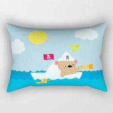 Bear in paper boat Rectangular Pillow
