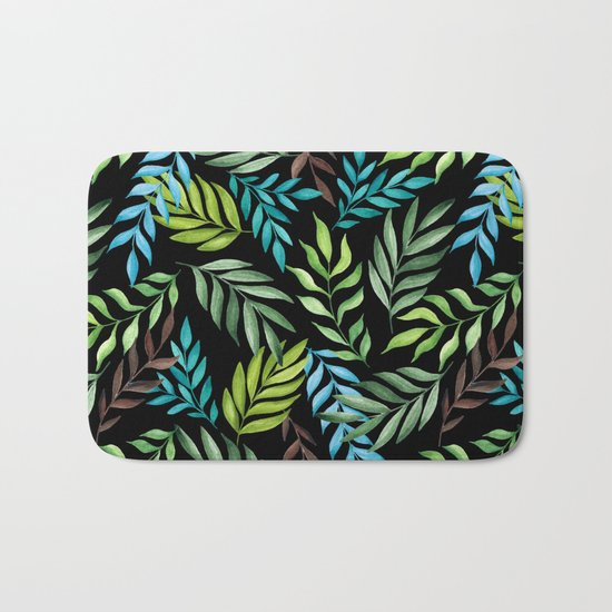 Tropical leaf pattern. Watercolor Bath Mat