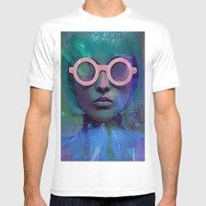 Pink Glasses girl Mens Fitted Tee White MEDIUM