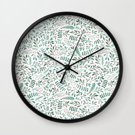 Green Leaves and Red Berries. Wall Clock