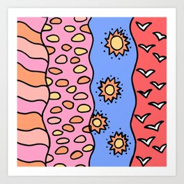 Doodle Art Drawing - Seagulls Rocks and Waves - Coral Blue Pink 2 Art Print