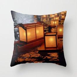 Japanese floating lantern Throw Pillow
