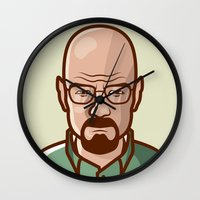 walter white Wall Clocks featuring Walter White by Sherif Adel