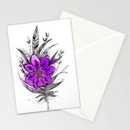 Purple Flower Feather Stationery Cards