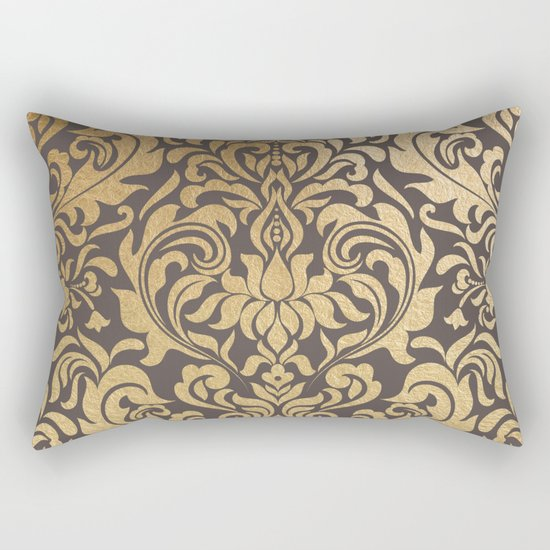 Gold swirls damask #9 Rectangular Pillow