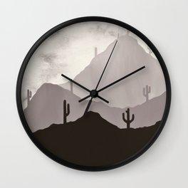 Arizona Desert Cactus Mountain Landscape Wall Clock